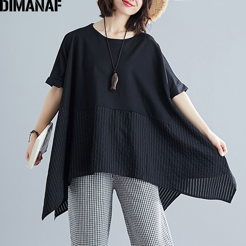 DIMANAF Plus Size Women Blouse Shirt Big Size Summer Lady Tops Tunic Basic Spliced Striped Loose Casual Female Clothes 5XL 6XL