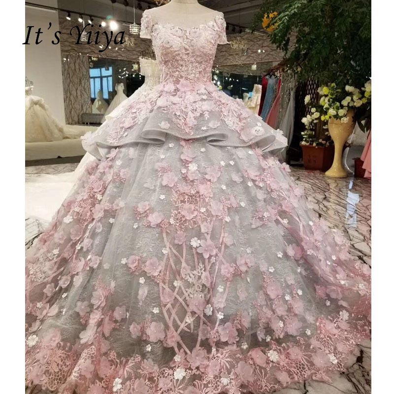 It's Yiiya Sexy Backless Illusion Floral Trailing Flowers Luxury Wedding Dress Bride Gowns Vestidos De Novia Casamento XNE250