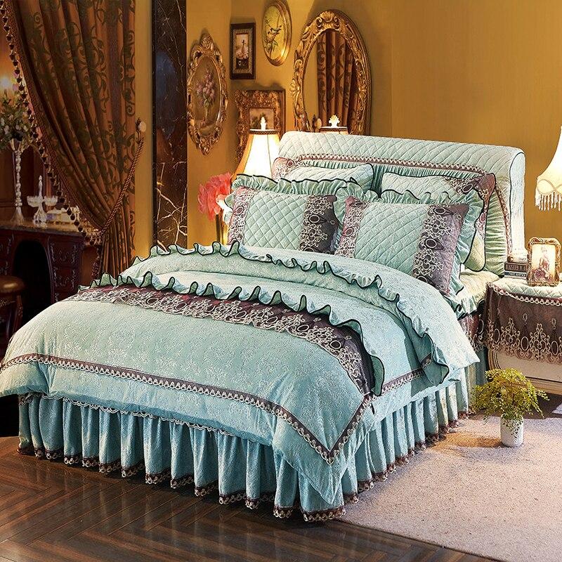 Pink Blue Thick fleece Luxury Princess Korean Bedding set Queen Double size Bed Duvet cover Bed
