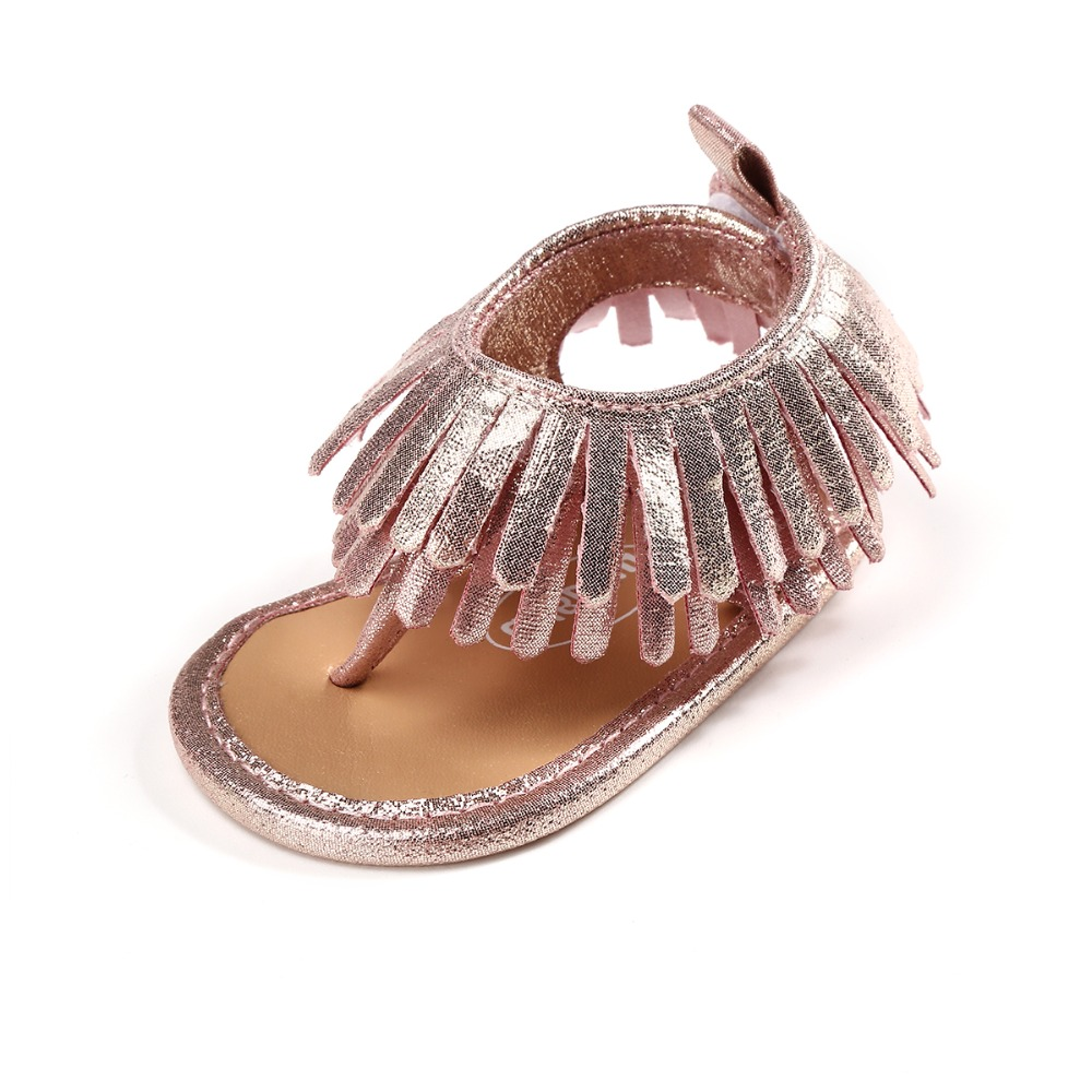Delebao 2018 New Style Baby Shoes Solid Lovely Tassel Rabbit Leather Girl Baby Sandal Soft Sole Newborn Baby Sandals Wholesale