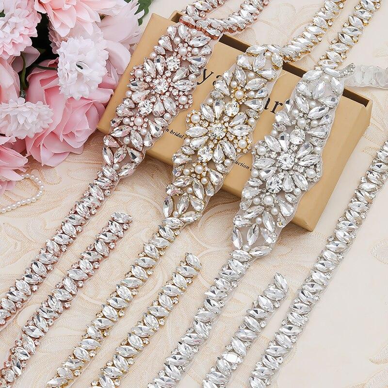 Yanstar 5 pcs 웨딩 드레스 벨트에 바느질 도매 전체 길이 라인 석 appliques diy bridal sash ys858-에서라인석부터 홈 & 가든 의  그룹 3