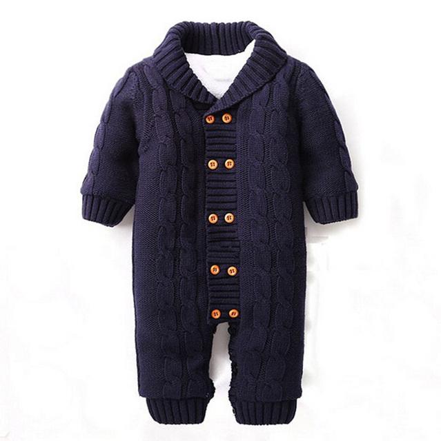 Botón Del Bebé de Los Mamelucos Recién Nacidos de invierno Solapa de Punto Engrosada Suéter Mono de Terciopelo Capa de La Manera CL0757