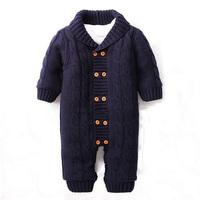 Winter Newborns Baby Button Rompers Lapel Knitted Thickened Sweater Jumpsuit Velvet Fashion Coat CL0757