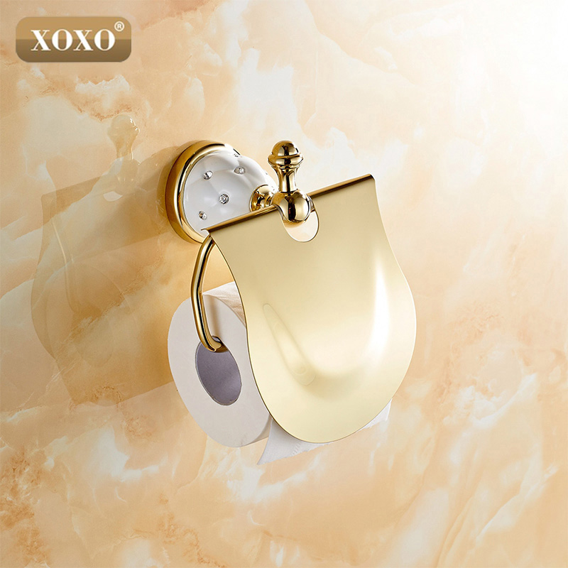 XOXOGold Toilet Paper Holder with diamond,Roll Holder,Tissue Holder,Solid Brass -Bathroom Accessories Products 10086GT