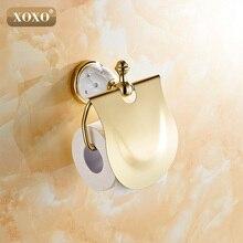 XOXOGold حامل ورق المرحاض مع الماس ، لفة حامل ، حامل الأنسجة ، الصلبة براس اكسسوارات الحمام المنتجات 10086GT