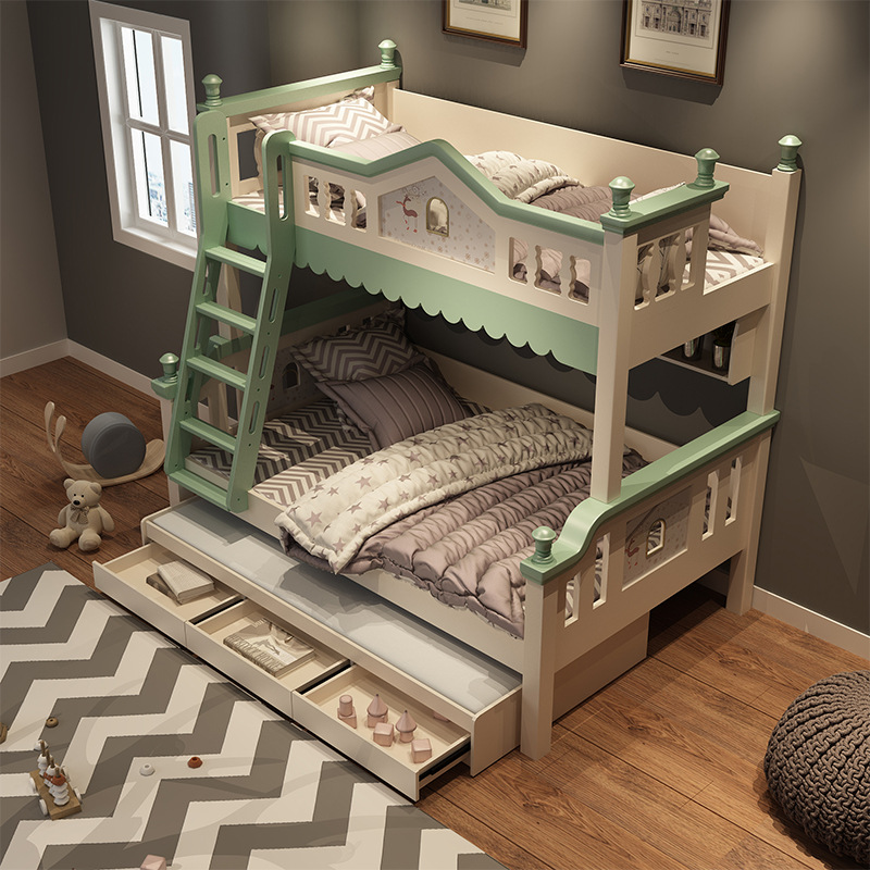 American Solid Wood Frame Bed Boys And Girls Bunk Bed Adult Bed