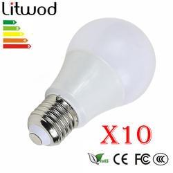 Litwod Z20 10 шт Светодиодный лампа E27 220 V Smart IC реальная Мощность 3-12 W хоге Helderheid шарика холодный белый и теплый белый
