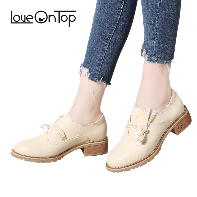Loveontop 2018 Spring Autumn new unique design women loafers casual flats shoes woman Beige leather slip on bow tie flat Shoes