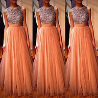 Hot Tulle Sequins Formal Bridesmaid One Piece Dresses Ball Gown Evening Party Dress 2016 Fashion New