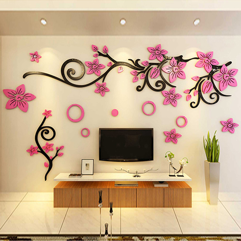 Bonzer TV fond fleur motif mur autocollant bricolage acrylique autocollants salon maternelle boutique décorations