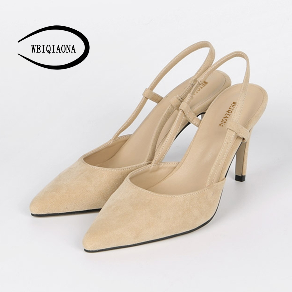 WEIQIAONA 2018 New Summer Women Casual Pumps High Heels Shoes Elegant Sexy Pointed Ankle Strap Wedding Shoes Party shose
