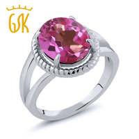 3 60 Ct Oval Pink Mystic Topaz 925 Sterling Silver Ring
