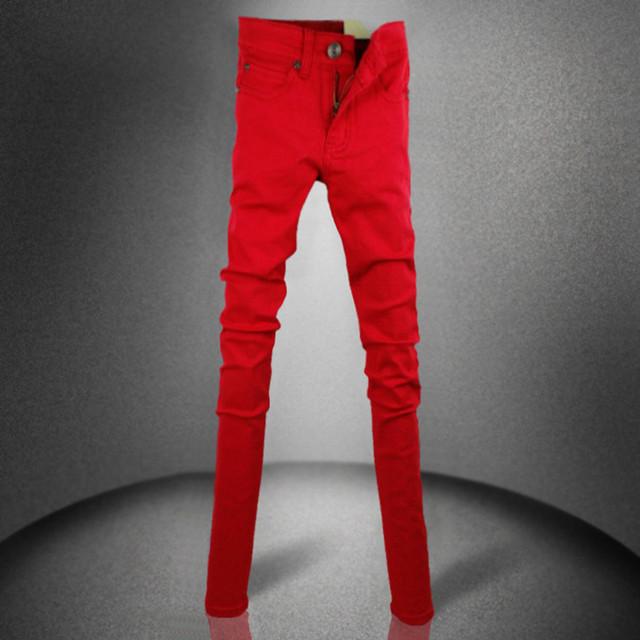 Vaqueros rojos hombres 2016 otoño hombres pantalones vaqueros delgados pantalones lápiz pantalones flacos para hombre pantalones rojos hombres , niños vaqueros más tamaño niñas mujeres 25-36
