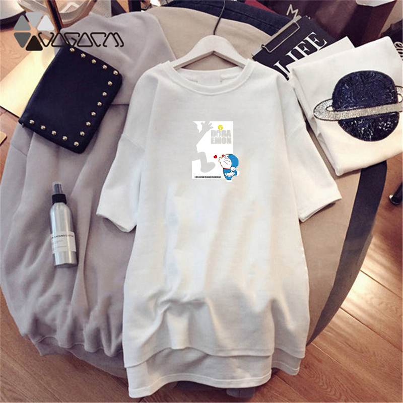 2019 Summer Dresses Women Doraemon Short Sleeve Black Dress Casual Loose Mini New Clothes White Dress Plus Size M 4XL Vestidos in Dresses from Women 39 s Clothing