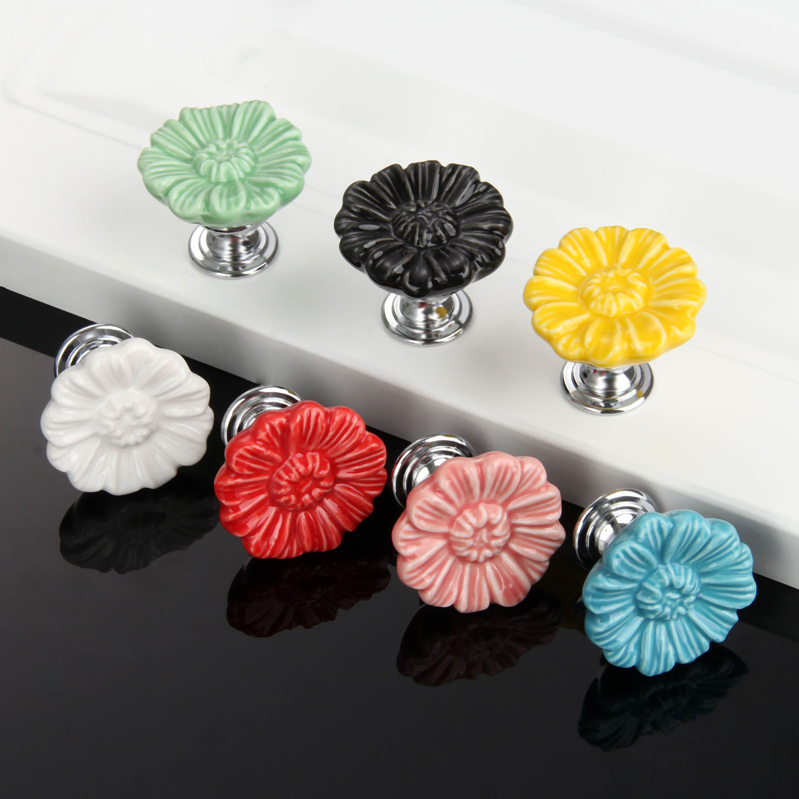 купить 7Pcs/lot Furniture Handles Vintage Flower Cabinet Knobs and Handles Ceramic Door Knob Cupboard Drawer Kitchen Pull Handle онлайн