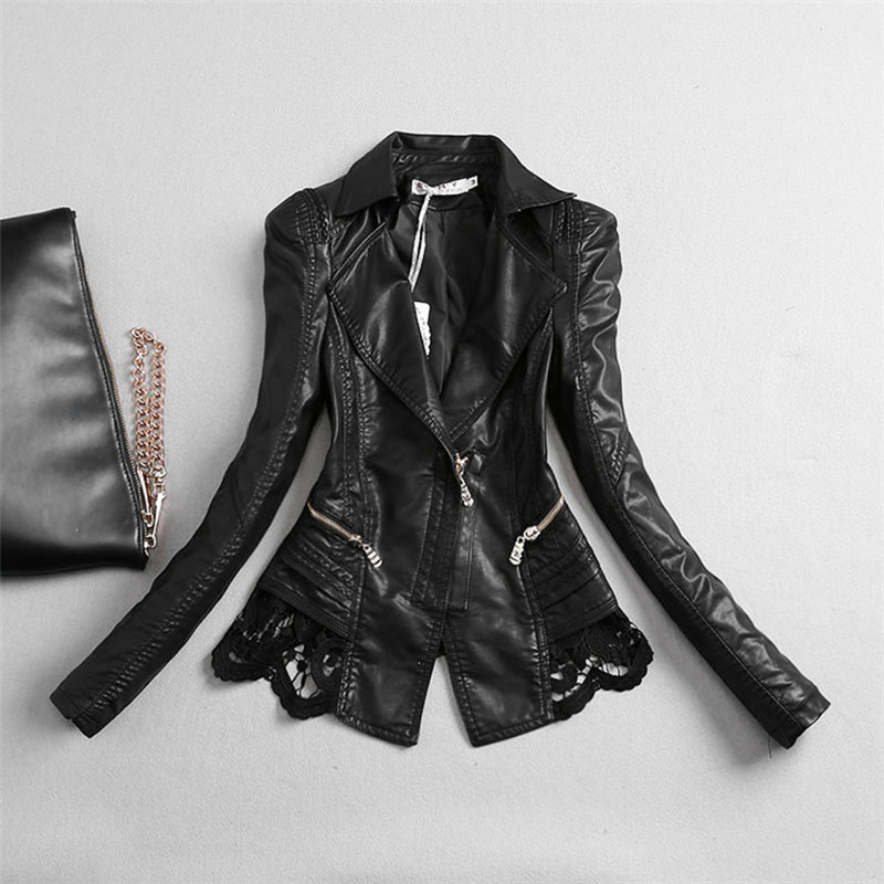 52071d8ca18 Women Leather Jacket 2018 New Fashion Lace Pu Patchwork Faux Leather Coat  Women s Clothing Turn Collar
