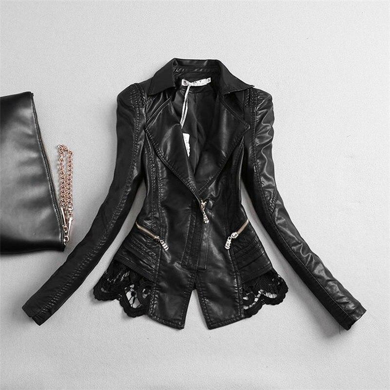 Women   Leather   Jacket 2018 New Fashion Lace Pu Patchwork Faux   Leather   Coat Women's Clothing Turn Collar Short Jacket M-4XL