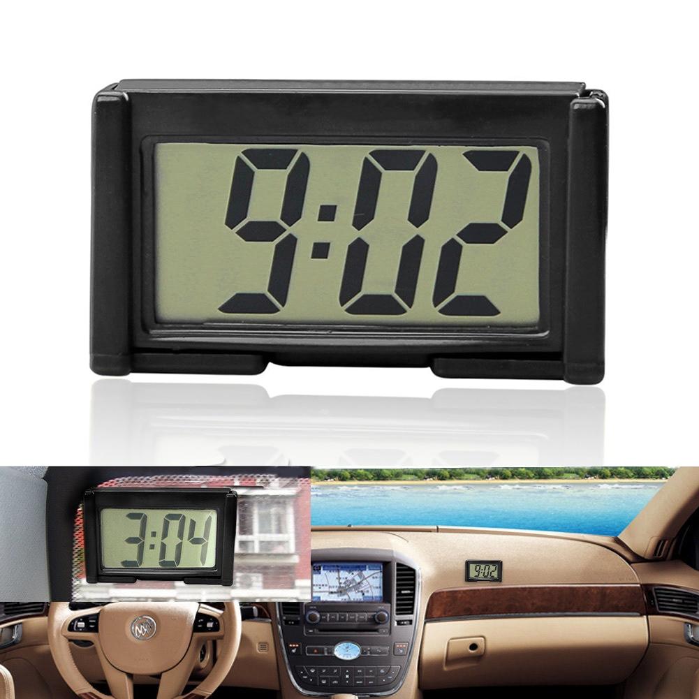 Mini Digital Car Electronic Clock Electronic Watch LCD Display Digital With Self-Adhesive Bracket