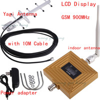 LCD Display GSM 900Mhz Phone Signal Booster Repeater GSM Amplifier Mobile Repeater + Yagi Antenna with 10M Cable US/EU Plug