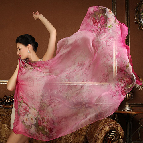 High quality 100% silk   scarf     wrap   shawl for Women rose flower pattern Long   scarves   super big 175x108CM Summer Beach Cover-ups
