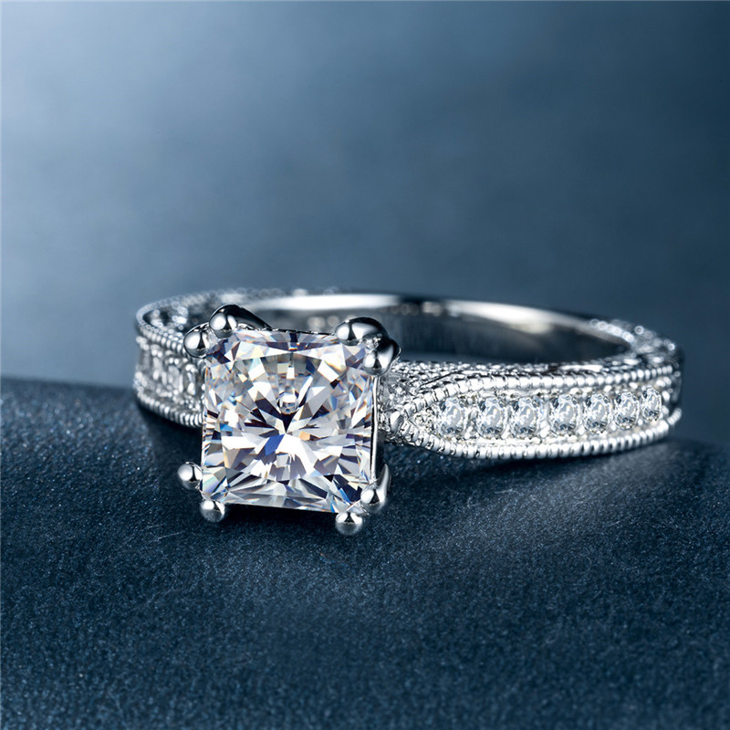 Huitan Classic Solitare Wedding Ring Band With Square Cubic Zircon Stone Prong Setting Engagement Proposal For Women