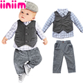 2017 New 3PC Autumn Baby Boys Clothes Gentleman Suit Toddler Clothing Set Infant Plaid Wedding Birthday Outfits