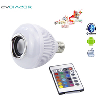 DVOLADOR Smart Music Playing LED Bulb E27 12W 110V 220V Dimmable RGBW Wireless Speaker Bluetooth Bulb