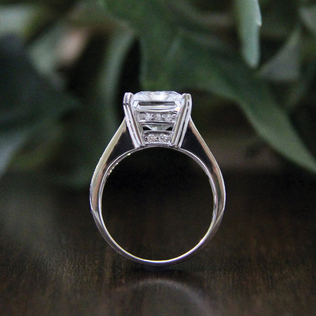 6.22CTW Cushion Cut Simulated Diamond 925 Sterling Silver with Gold Wedding Engagement Ring