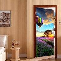 2pcs/set Fire Balloon 3D Door Stickers Murals Decal Art Wall Adhesive Home Bedroom Living Room Decor 38.5X200cm