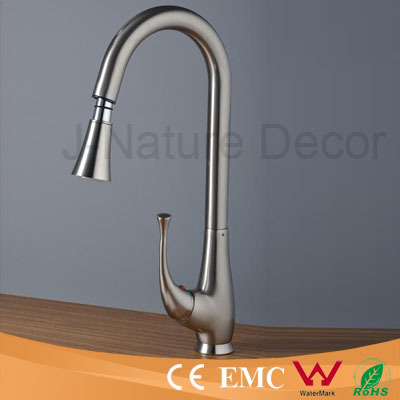Nickel brushed kitchen faucet mixer with pullout spout and lever handle