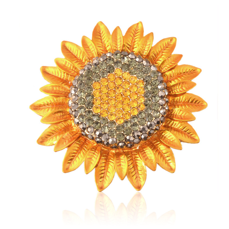 Flower Brooch Large Sunflower Plant Rhinestone Brooches Christmas Jewellery for Women Dress Belt Jumpsuit Scarf Pin Badge Broach