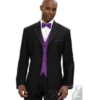 hot sales brand new style fashion most popular Black suits with purple vest,wedding suits for men,custom made party dress