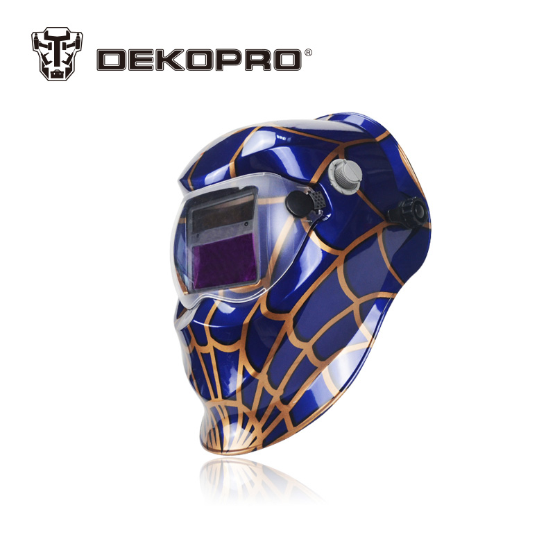 DEKOPRO Blue Spider Solar Auto Darkening Electric Welding Mask Helmet Welder Cap Welding Lens for Welding Machine fire flames auto darkening solar powered welder stepless adjust mask skull lens for welding helmet tools machine free shipping