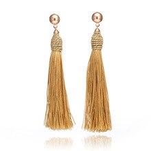 Trendy Boho Long Tassel Earrings Women Fashion Jewelry Vintage Bohemia Silk Fabric Ethnic Hanging Dangle Drop Earrings цена