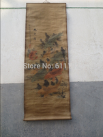 Vintage Chinese Realist hand painted old scroll painting 'the 9 fish' Fig 68*24inch