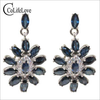 Elegant sapphire earrings for party 24 pcs natural Chinese sapphire earrings 925 silver sapphire jewelry - DISCOUNT ITEM  30% OFF All Category