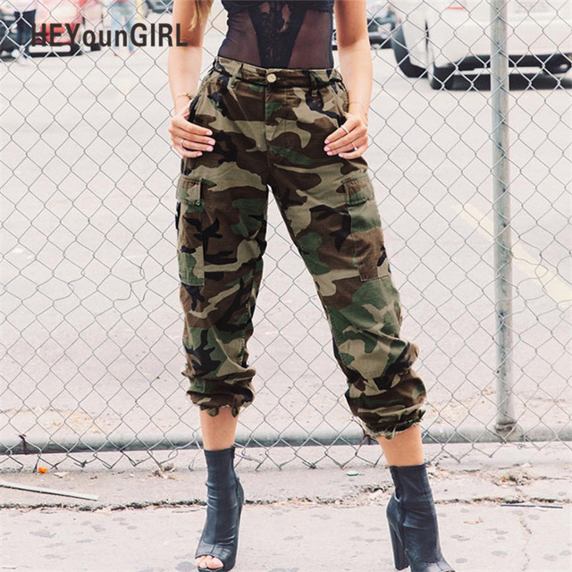 b98c470bf91b HEYounGIRL Camo Pants for Women Camouflage Casual Trousers Harem Pants  Winter High Waist Hip Hop Sweatpants Green Pantalon Mujer