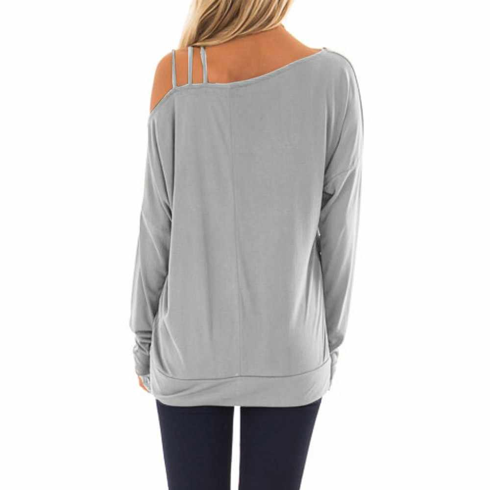 c56b69bffe099d ... Black Friday women t-shirt Solid Casual Long Sleeve Hem One Strappy  Cold Shoulder Tops