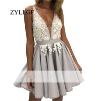 ZYLLGF Sexy Low Back Short Mother Of The Bride Dresses A Line V Neck Wedding Party Gown With Appliques LFB37