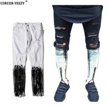 USRUER YEEZY New Quality White Black Ripped Destroyed Mens Bottoms Zipper Skinny Slim Painted Denim Jeans