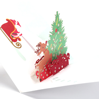 Happy Christmas Happy New Year Origami 3d postcard Greeting card Merry Xmas stags Pop up card Christmas card holiday children