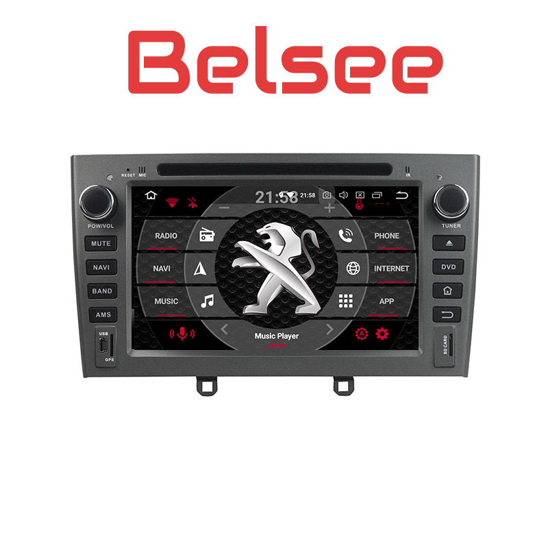 Belsee Autoradio Touch Screen <font><b>Android</b></font> <font><b>8.0</b></font> Head Unit Radio Car GPS Navigation Multimedia HD for <font><b>Peugeot</b></font> <font><b>308</b></font> 408 308SW 2007-2010 image