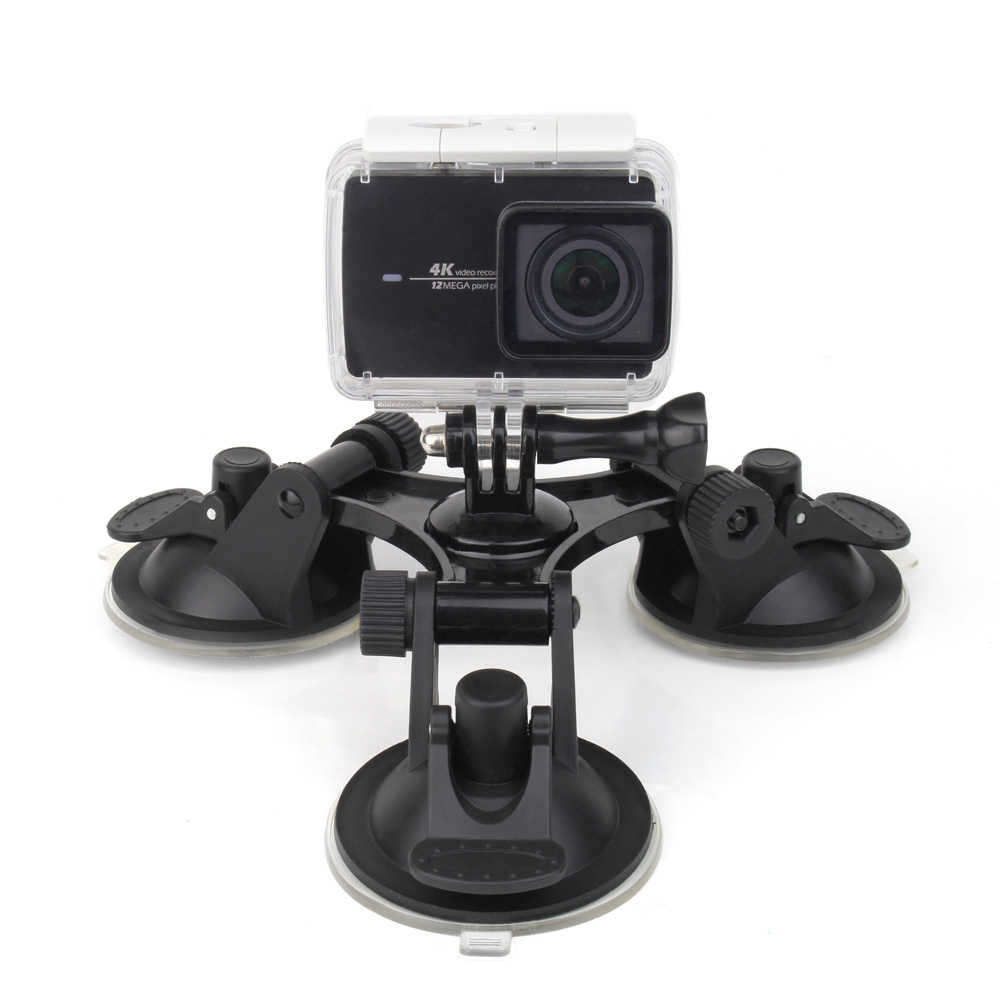Triple Vacuum 3 Feets Suction Cup Mount Holder for GoPro Hero 5 4 3+ 3 2 SJ4000 SJCAM Xiaomi YI 4K Action Camera