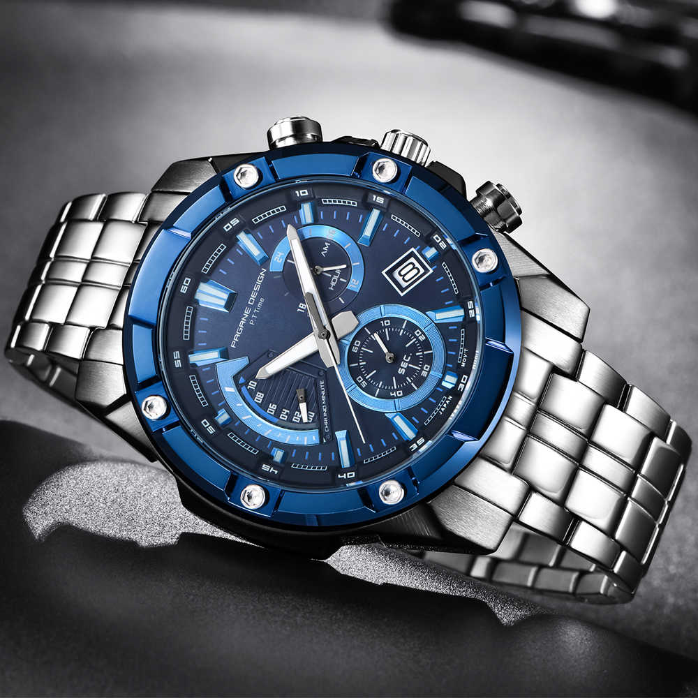 PAGANI עיצוב הכרונוגרף קוורץ שעון גברים נירוסטה עמיד למים עסקי שעוני יד Mens ספורט שעונים reloj hombre 2018