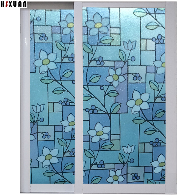 window frosted film 40x200cm flower pattern static stickers removable tint film on Sliding window decorative Hsxuan brand 402033