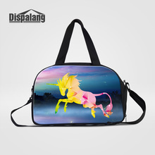 Dispalang Cute Unicorn Women's Travel Duffle Bag Galaxy Universe Portable Hand Overnight Bags For Students Cotton Duffel Luggage