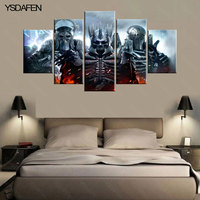5 Piecesset Printed The Witcher 3 He Wild Hunt Canvas Painting Room Decoration Print Poster Picture