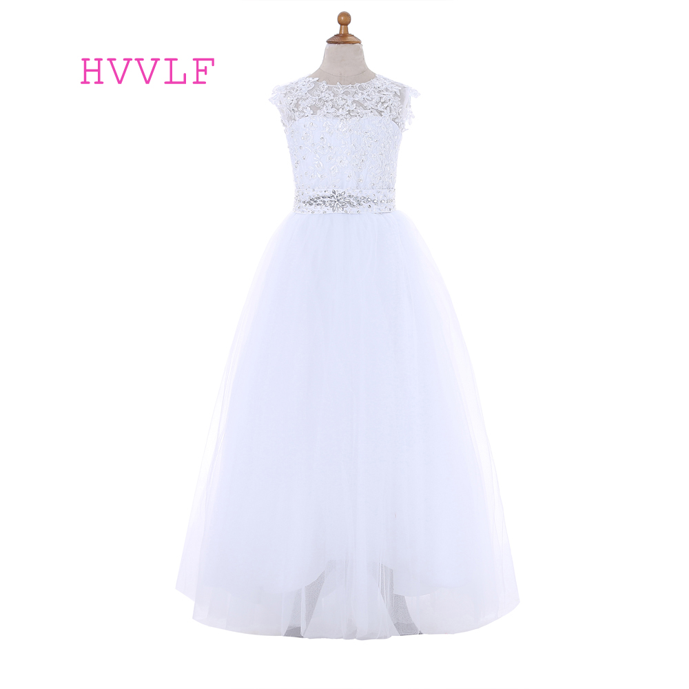 White 2019   Flower     Girl     Dresses   For Weddings A-line Cap Sleeves Tulle Appliques Lace Bow First Communion   Dresses   For Little   Girls
