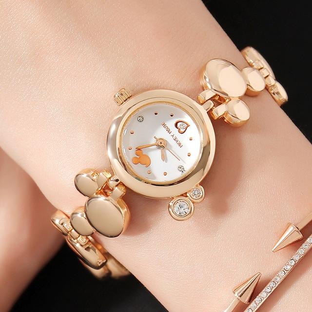 Disney Watch Women Luxury Brand Fashion Rose Gold Quartz Watches Mickey  Mouse Rhinestones Stainless Steel Wristwatch MK-11184 a80c24490372