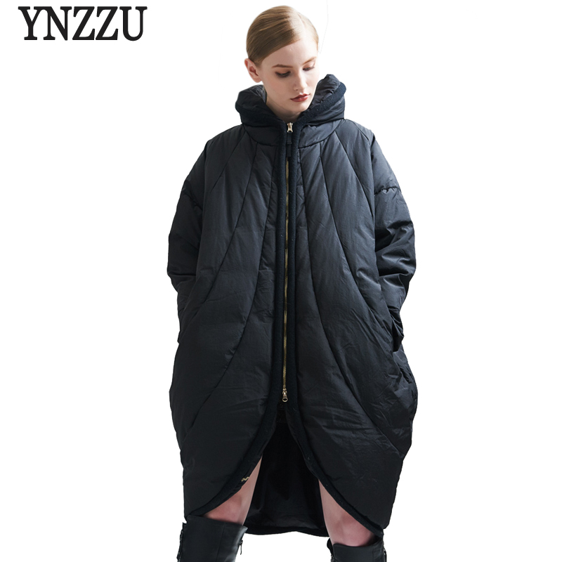 YNZZU Women Winter   Down   Jacket 2017 Brand Loose White Duck   Down     Coat   Stand Collar Thick Warm Women Cloak Oversized Jacket AO345